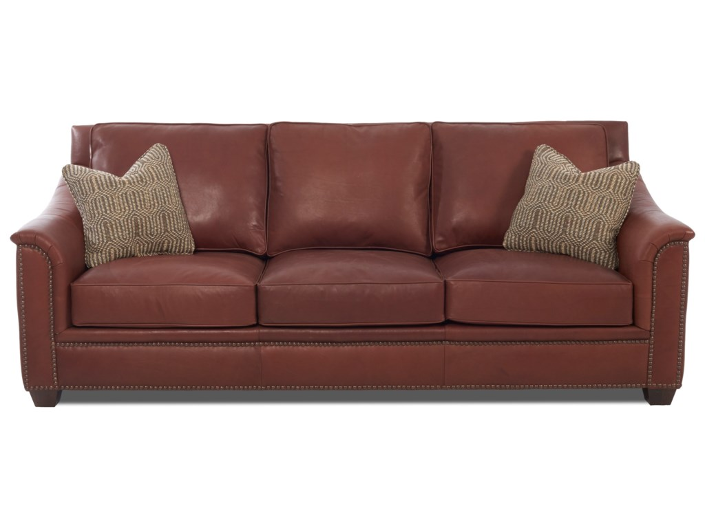 Klaussner WilkesboroLeather Sofa w/ Pillows
