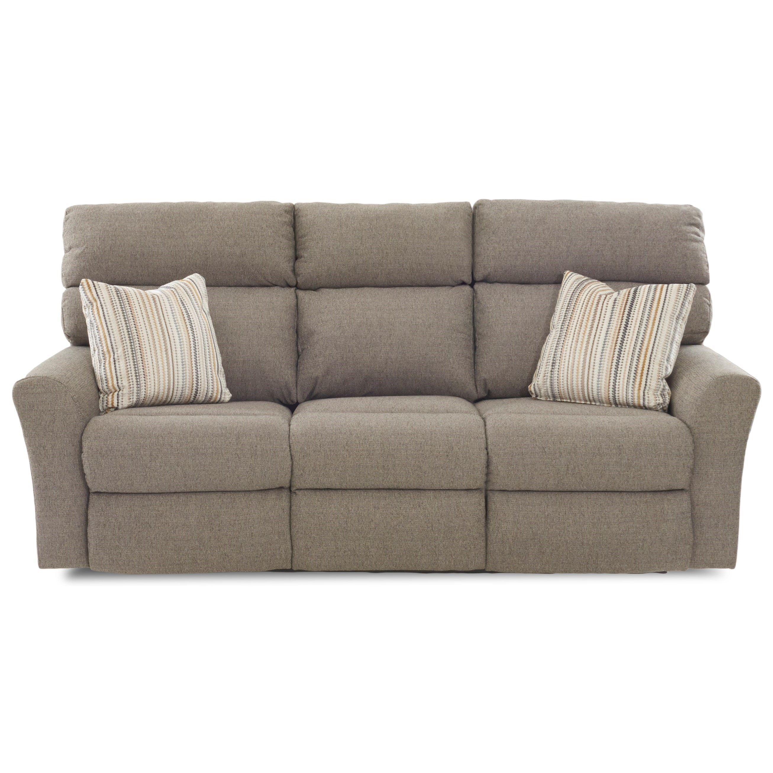 Klaussner Xavier Casual Three Recliner Sofa With Two Power Recliners And  Toss Pillows