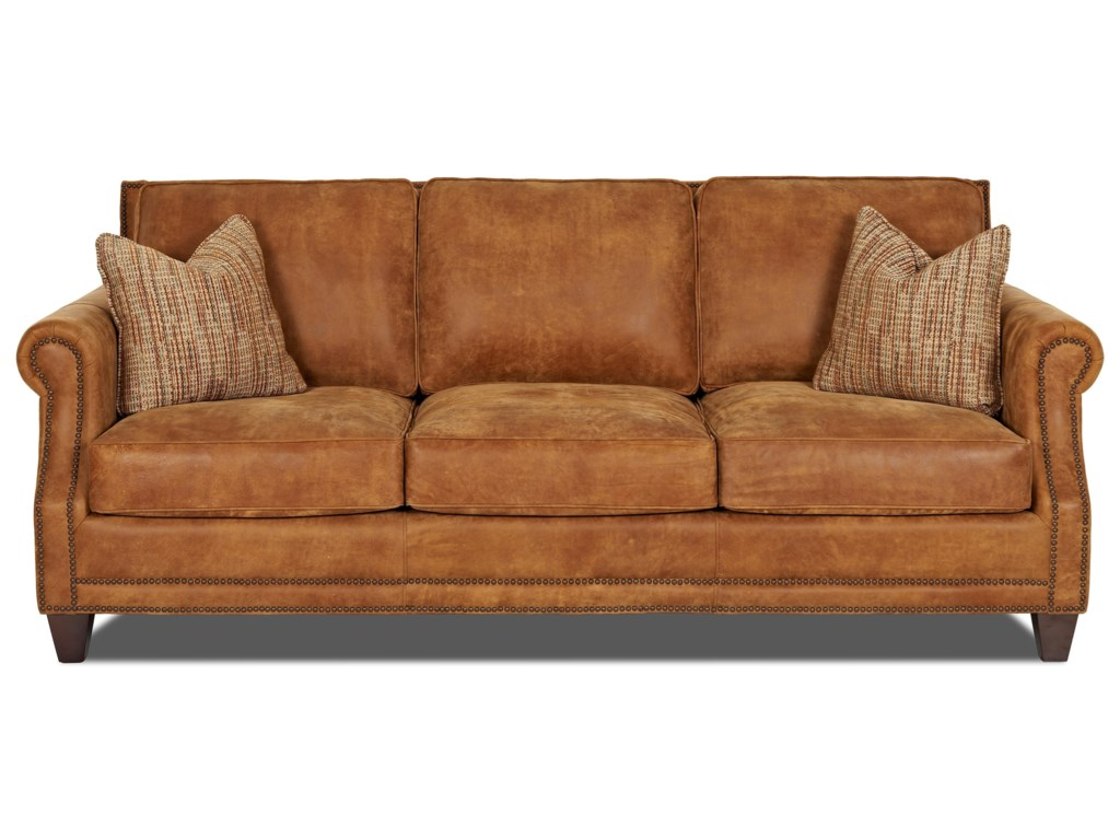 Klaussner York Ld58710ap S Clically Styled Sofa With Nail Trim And Arm Pillows Hudson Furniture Sofas