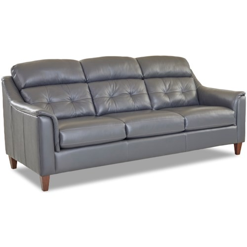 Klaussner Zebulon Transitional Leather Sofa With Tufted Back