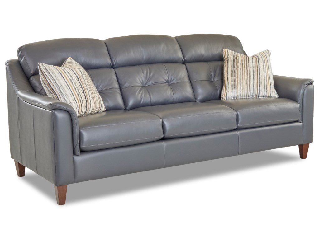 Klaussner Zebulon Transitional Leather Sofa With Arm Pillows Value City Furniture Sofas