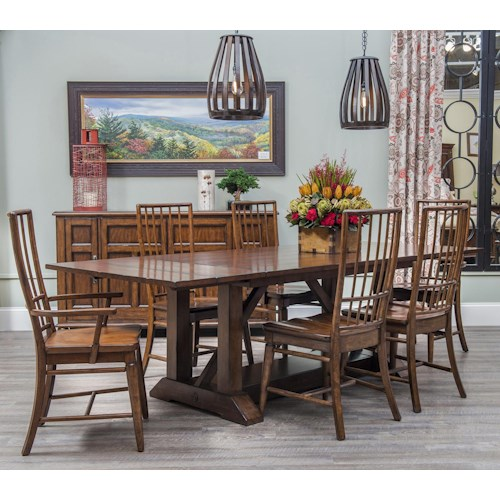Carolina Preserves by Klaussner Blue Ridge 7 Piece Trestle Table with Rake Back Side and Arm Chairs