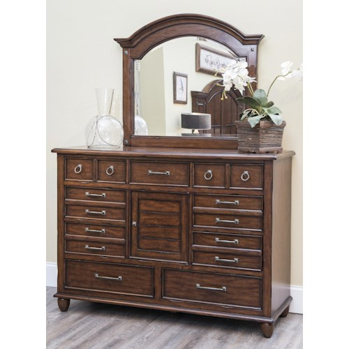 Carolina Preserves by Klaussner Blue Ridge Dresser with Drawers and Door with Mirror Set