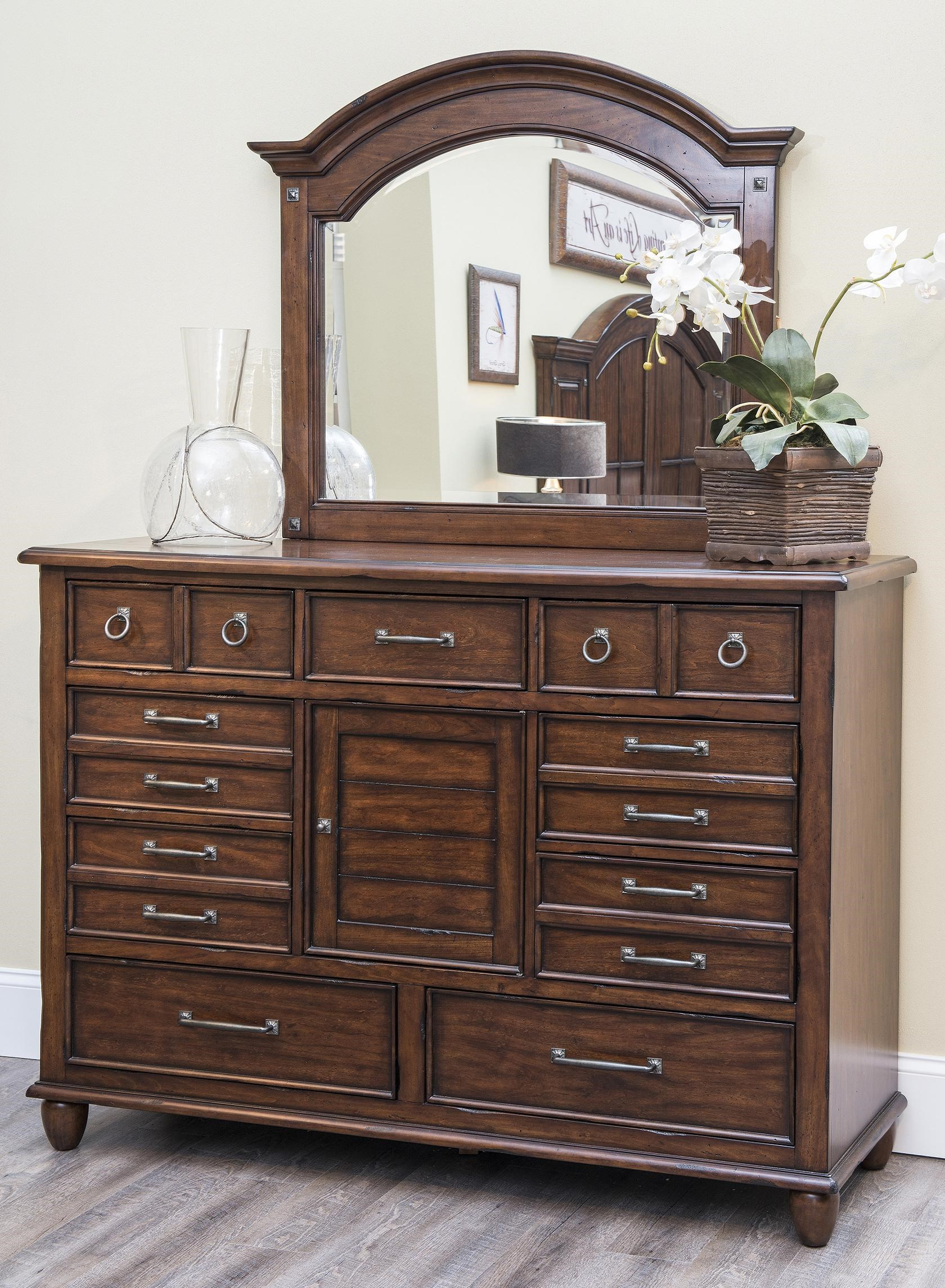 Blue Ridge Dresser With Drawers And Door With Mirror Set By Carolina  Preserves By Klaussner