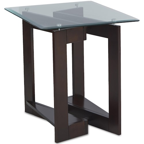 Klaussner International Cadence End Table with Glass Top