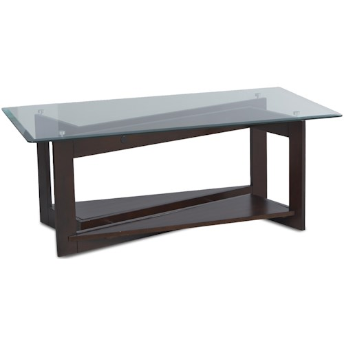 Klaussner International Cadence Cocktail Table with Triangular Base and Glass Top