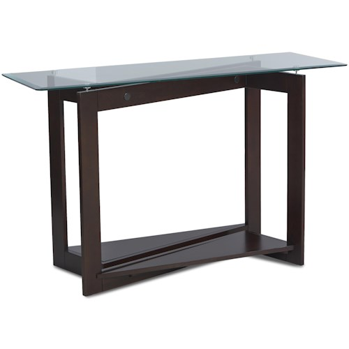 Klaussner International Cadence Modern Sofa Table with Glass Top