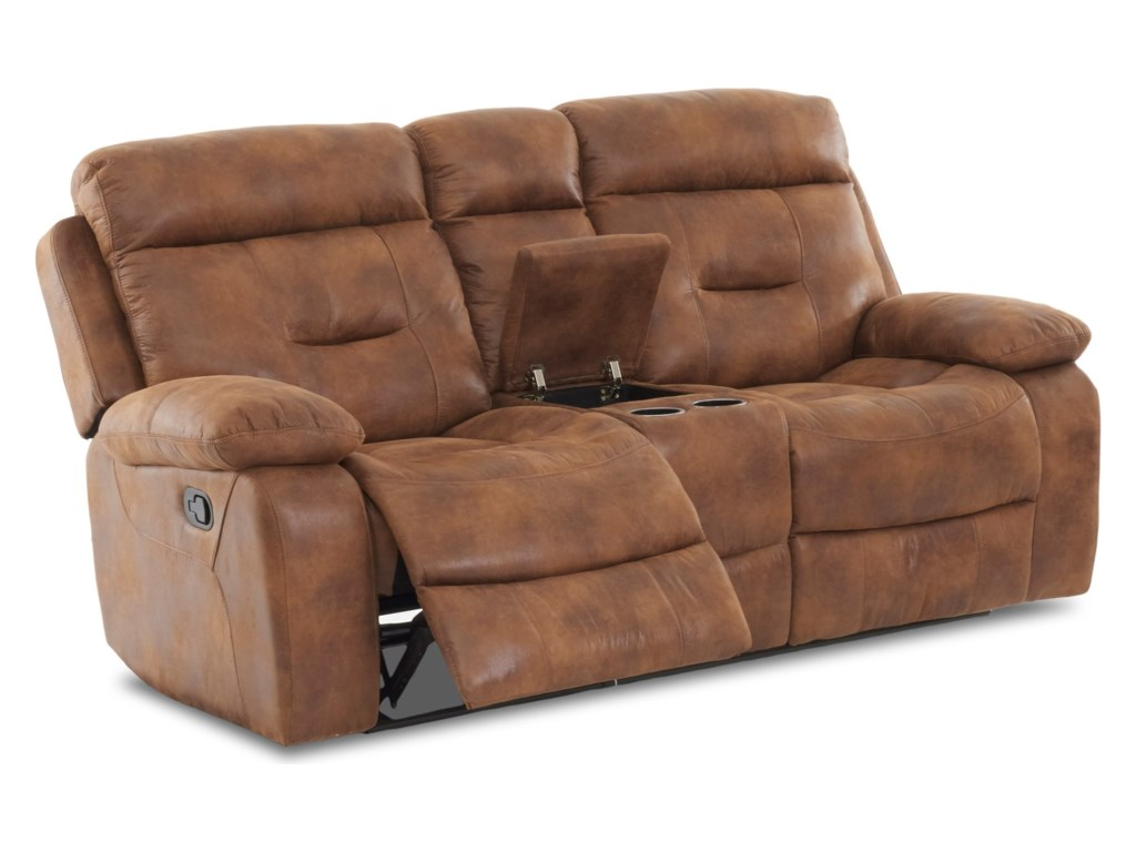 Klaussner International CanoReclining Loveseat with Storage & Cupholders