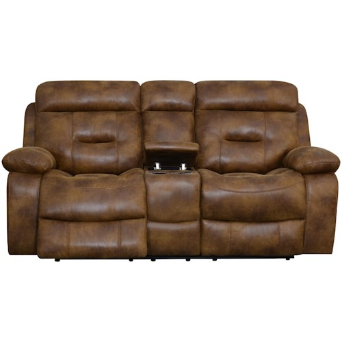 Klaussner International Cano Reclining Loveseat with Storage & Cupholders