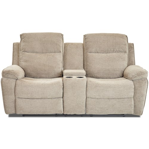 Klaussner International Castaway-US Casual Reclining Loveseat with Cupholder Storage Console