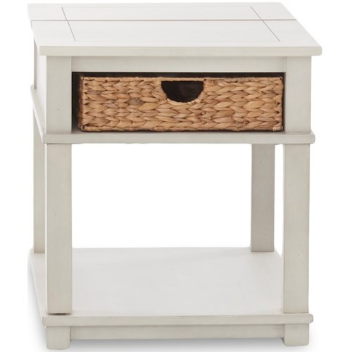 Klaussner International Chambers Casual End Table with Flip Top and Storage Basket