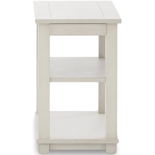 Klaussner International Chambers Casual Chairside Table with Two Shelves and Pull-Out Shelf