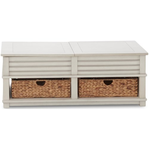 Klaussner International Chambers Casual Castered Cocktail Table with Flip Top Storage and Two Baskets