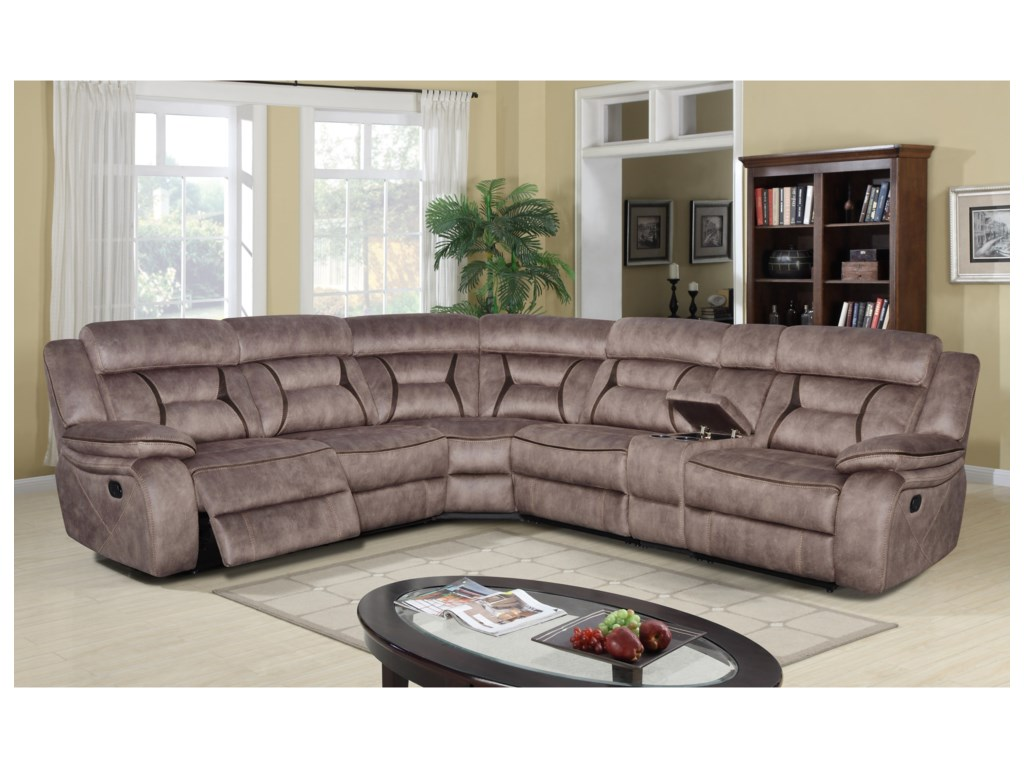 Klaussner International Cyrus6 Pc Power Reclining Sectional Sofa