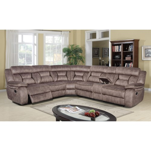 Klaussner International Cyrus Six Piece Power Reclining Sectional Sofa with Cupholder Storage Console