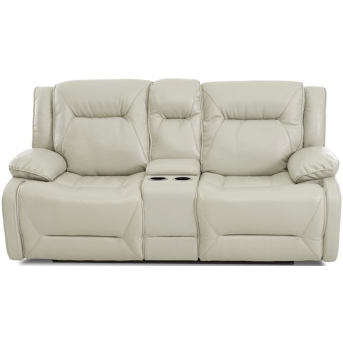 Klaussner International Dansby Power Reclining Loveseat with Drink Storage Console and Power Headrests
