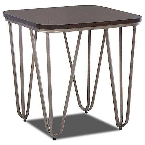 Klaussner International Dawson Modern End Table with Metal Hairpin Legs