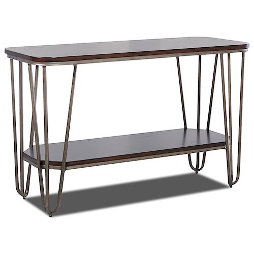 Klaussner International Dawson Modern Sofa Table with Metal Hairpin Legs