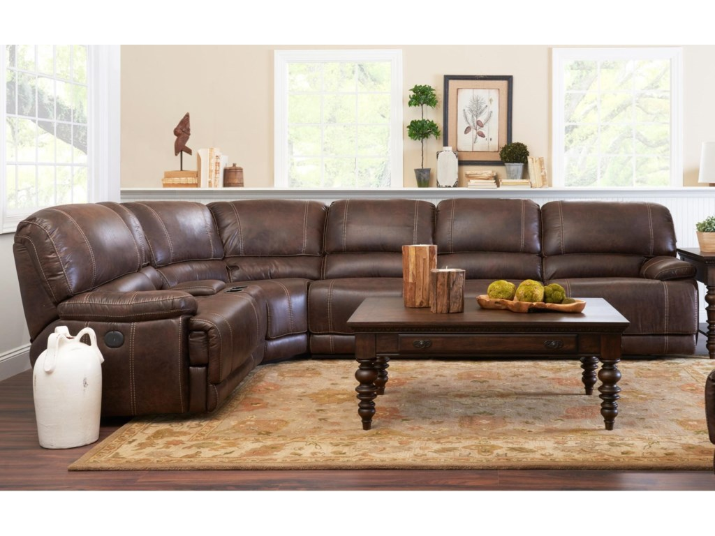 Klaussner International Foster Four Seat Power Reclining Sectional ...