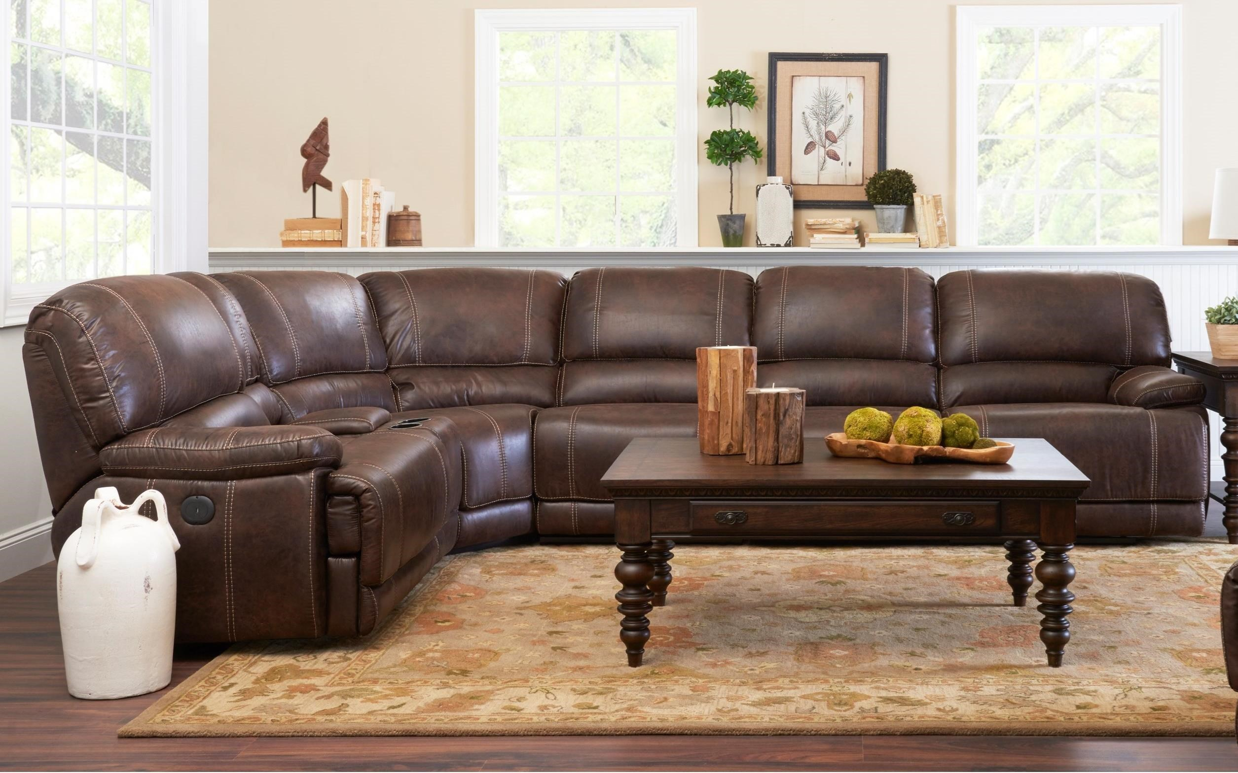 Klaussner International Foster6 Pc Pwr Reclining Sectional Sofa ...