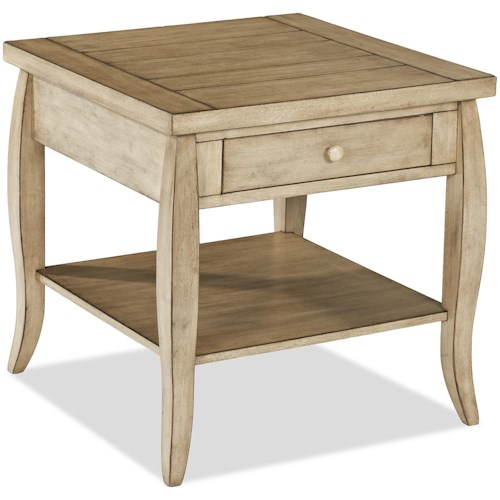Klaussner International Glen Valley End Table with One Drawer and One Shelf