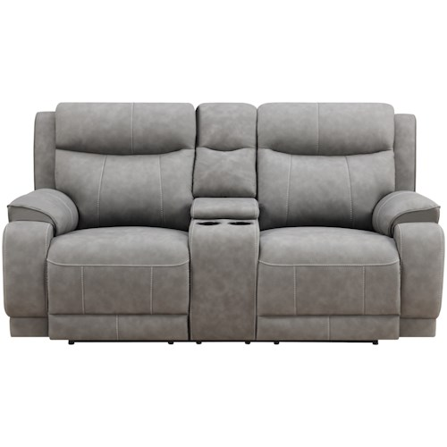 Klaussner International Humphrey-US Power Reclining Console Loveseat with Power Tilt Headrests and USB Ports