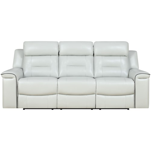Klaussner International Islander Reclining Leather Sofa with Contrasting Welt