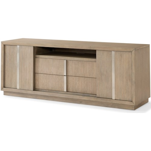 Klaussner International Melbourne Contemporary TV Stand with Sliding Doors