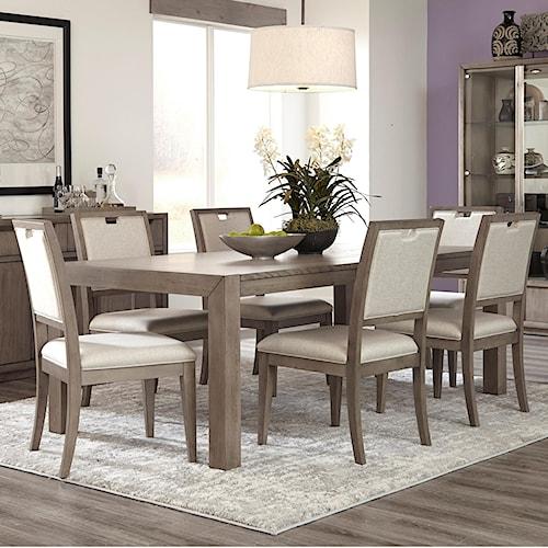 Klaussner International Melbourne Seven Piece Dining Set with Rectangular Table