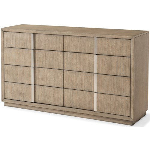 Klaussner International Melbourne Contemporary 8 Drawer Dresser with Wire Management and Cedar-Lined Bottom Drawer