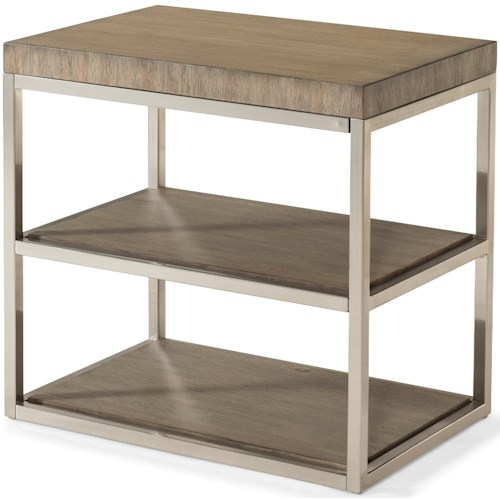 Klaussner International Melbourne Contemporary End Table with Chrome Legs