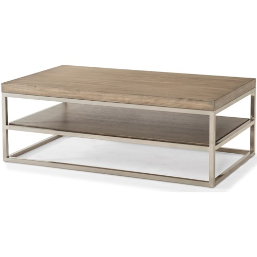 Klaussner International Melbourne Contemporary Rectangular Cocktail Table with Chrome Legs
