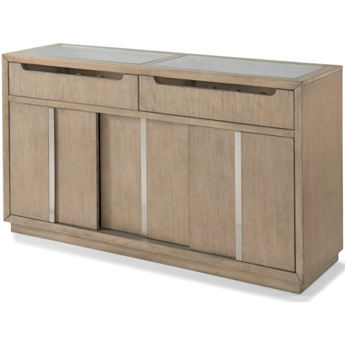 Klaussner International Melbourne Contemporary Server with Sliding Doors and Display Drawers