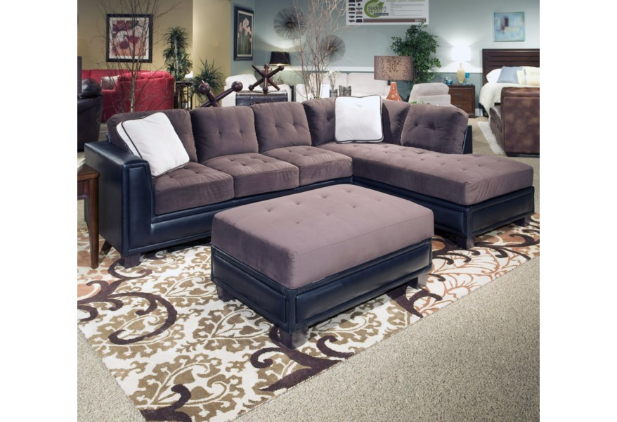 Klaussner International Norwich 3 Piece Right Arm Facing Chaise