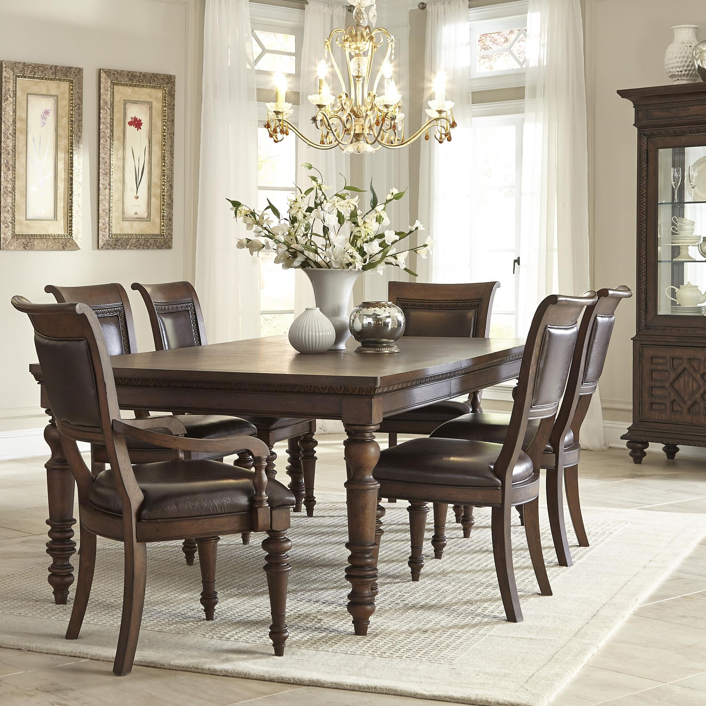 Superior Klaussner International Palencia Rectangular Dining Table With 2  Upholstered Arm Chairs And 4 Upholstered Side Chairs