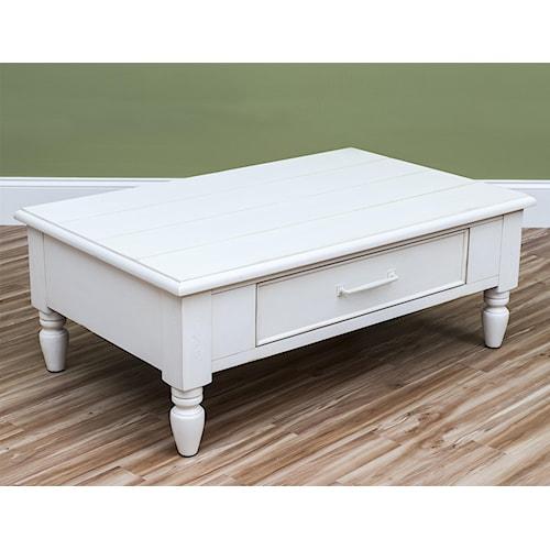 Easton Collection Sea Breeze Beachcomber-White Cocktail Table