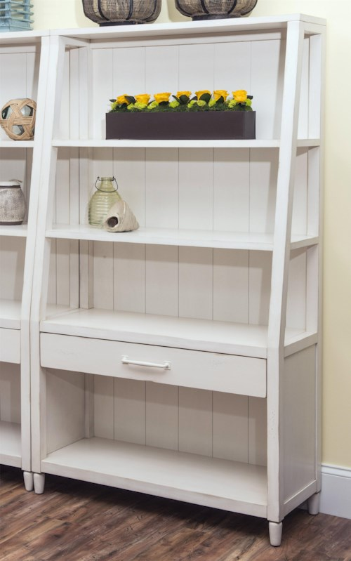 Carolina Preserves by Klaussner Sea Breeze Splish Splash-White Bookcase with Shelving and Drawer