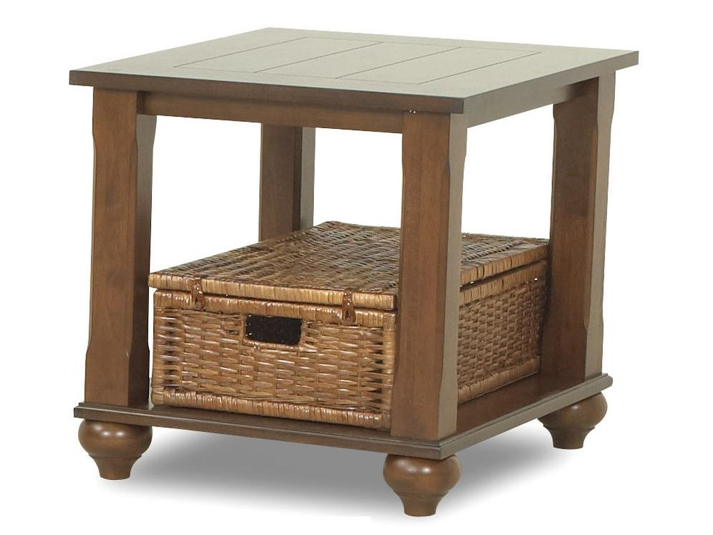 Treasurers End Table With 1 Wicker Basket By Klaussner International At Lagnie Home