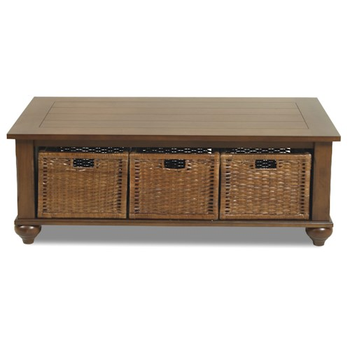 Klaussner international treasurers cocktail table with 3 baskets pilgrim furniture city Coffee table baskets