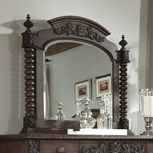 Belfort Basics Virginia Manor Wood Frame Mirror with Turned Posts