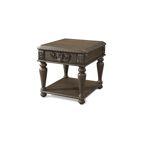 Belfort Basics Virginia Manor Square End Table with Wood Carved Details