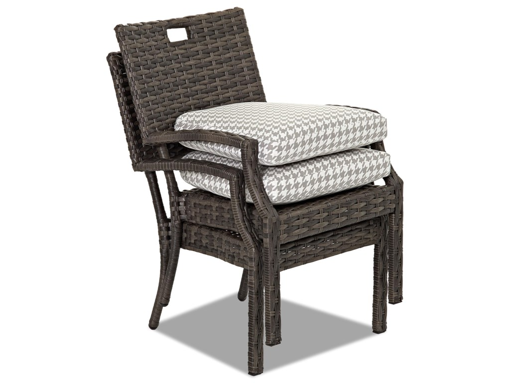 Klaussner Outdoor Cascade4 Pack Stack Din Chair w/ Drainable Cushion
