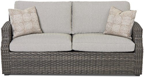 Klaussner Outdoor  Cascade Outdoor Sofa with Reversible Cushion and Customizable Fabric
