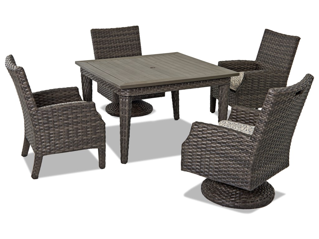 Klaussner Outdoor Cascade5 Pc Outdoor Dining Set w/ Drain Cushions