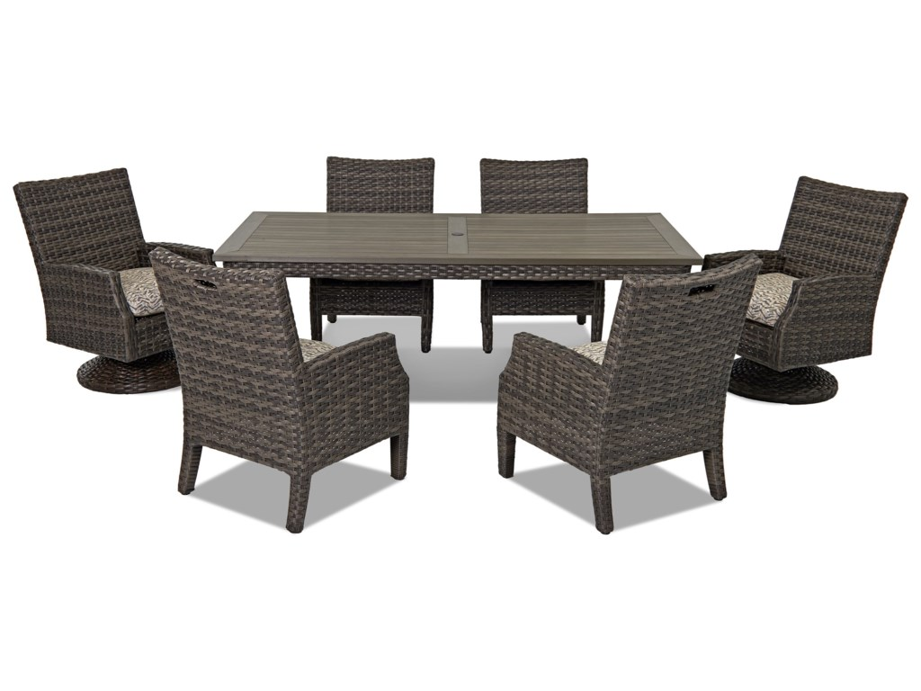 Klaussner Outdoor Cascade7 Pc Outdoor Dining Set w/ Drain Cushions
