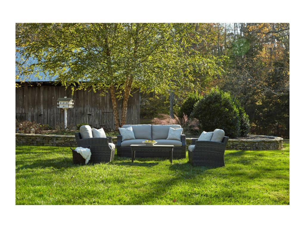 Klaussner Outdoor CascadeOutdoor Chat Set w/ Drainable Cushions