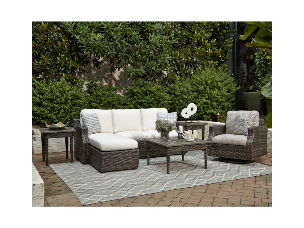 Klaussner Outdoor CascadeOutdoor Chat Set w/ Reversible Cushions