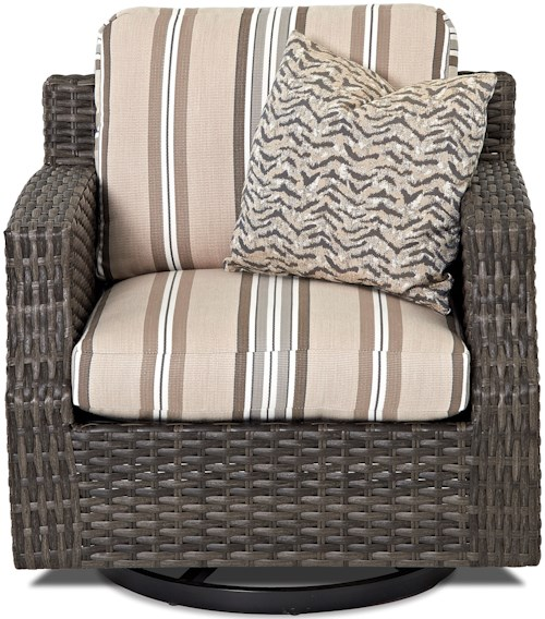 Klaussner Outdoor Cascade Outdoor Swivel Glider Chair with Track Arms and Drainable Cushion