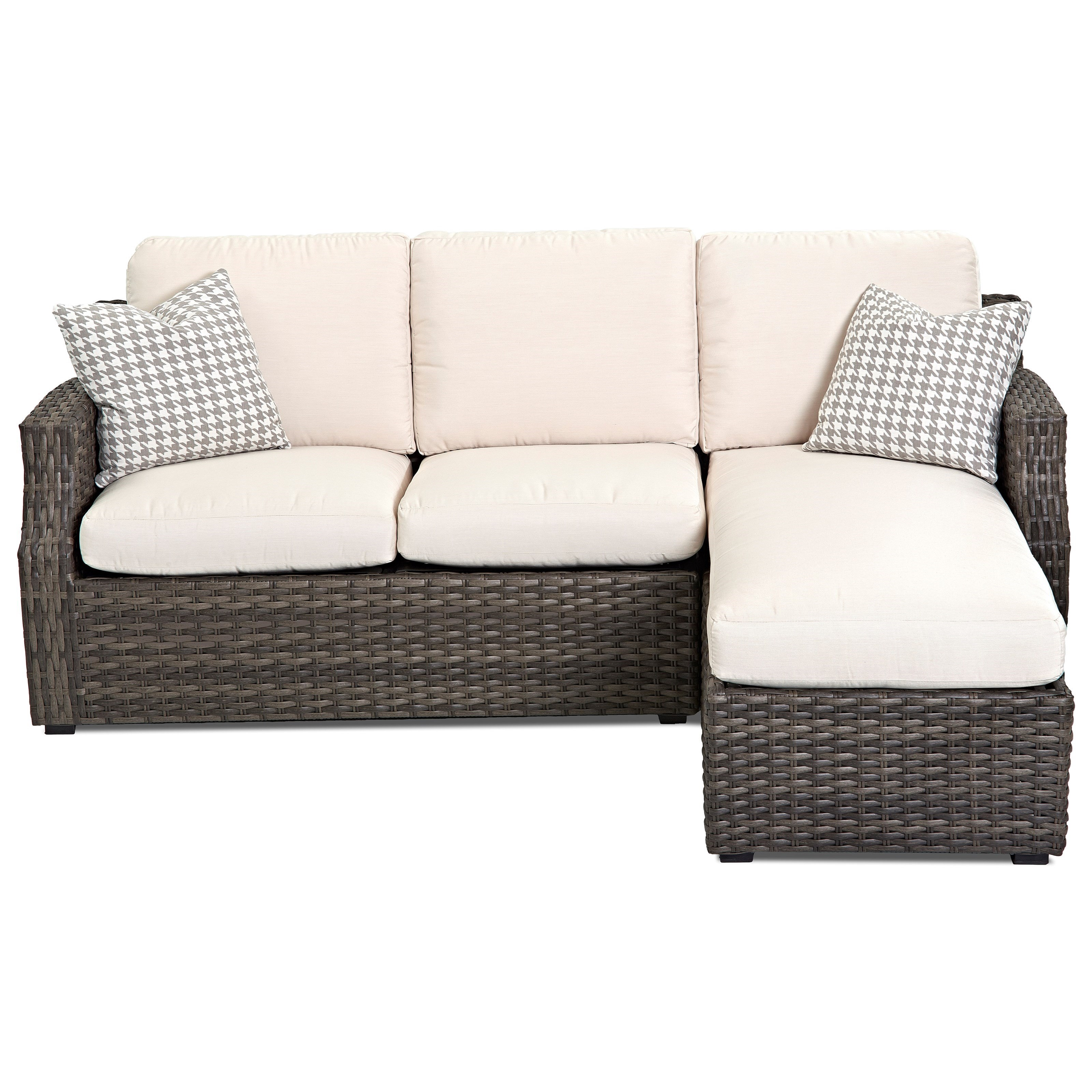 klaussner outdoor cascade outdoor sectional sofa with chaise and drainable cushion