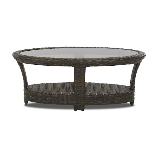 Klaussner Outdoor Cassley Oval Cocktail Table With Smoked Bronze Glass Top Design Interiors